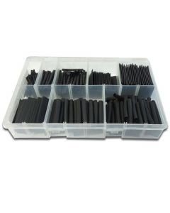 Panther Consumables 360 Piece Assorted Heat Shrink Tubing (Shrink Ratio 2:1) 40mm Cut Lengths in Black - Workshop Pack