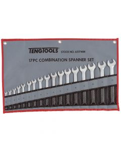Teng Tools 17 Piece Metric Combination Wrench Set in a Tool Roll 6 - 22mm 6517MM