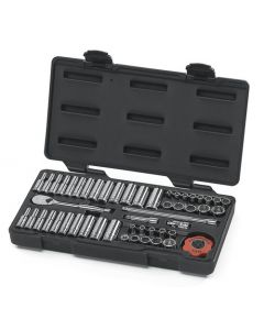 "Gearwrench 51 Piece 1/4"" Drive Metric 4 - 15mm SAE 3/16"" - 9/16"" 12 Point Bi-Hex Standard & Deep Socket Set 80301"
