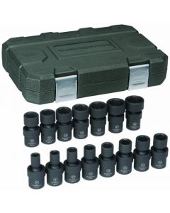 "Gearwrench 15 Piece 3/8"" Drive Metric 8-22mm 6 Point Hex Impact Universal Joint Socket Set 84918"