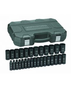 "Gearwrench 29 Piece 1/2"" Drive Metric 8 - 36mm 6 Point Hex Deep Impact Socket Set 84935"