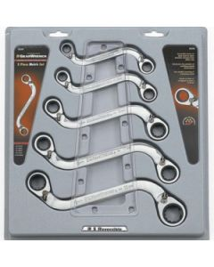 Gearwrench 5 Piece Metric 10 - 22mm S-Shape Double Box Reversible Ratcheting Wrench Set 85299