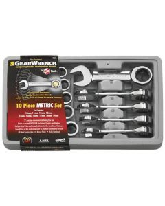 Gearwrench 10 Piece Metric 10 -19mm Stubby Ratcheting Wrench Set 9520