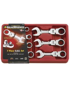 """Gearwrench 7 Piece SAE 3/8"""" - 3/4"""" Stubby Ratcheting Flex Head Wrench Set 9570"""