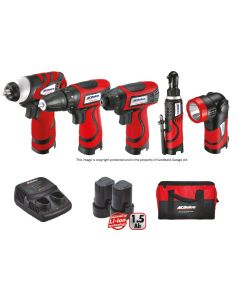 AC Delco 5 Piece 7.2 Volt Cordless Super Compact Combination Power Tool Kit ACD702KIT