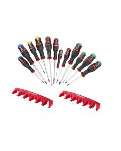 Facom Protwist® 12 Piece Screwdriver Set Phillips,Pozi-driv,Slotted,Resistorx® AN.J12R2PB