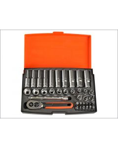 Bahco 37 Piece Socket Set Metric 1/4in Standard & Deep BAHSL25L