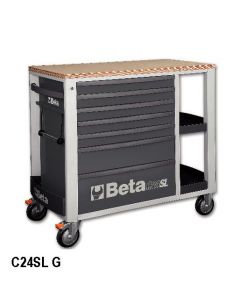 """Beta Tools C24SL 7 Drawer 41"""" Mobile Roll Cab Workstation in Grey + Wood Top C24SLG"""