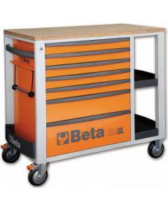 "Beta Tools C24SL 7 Drawer 41"" Mobile Roll Cab Workstation in Orange + Wood Top C24SLO"