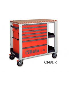 """Beta Tools C24SL 7 Drawer 41"""" Mobile Roll Cab Workstation in Red c/w Wood Top C24SLR"""