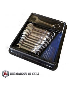 Britool Hallmark 10 Piece Metric Stubby Combination Wrench Set CXSMSET10