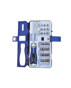 Faithfull Tools 33 Piece Ratcheting Screwdriver with Bit Set & Socket Set FAISDSET33R