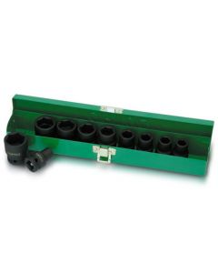 "Toptul Professional Tools 10 Piece 1/2"" Drive Metric 10 - 24mm Standard Impact Socket Set in a Metal Case"