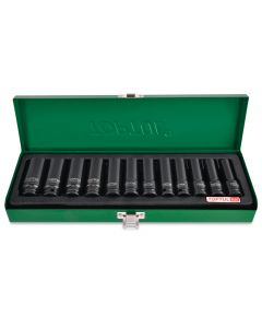 "Toptul Professional Tools 12 Piece 3/8"" Drive Metric 8 - 19mm Deep Impact Socket Set in a Metal Case"