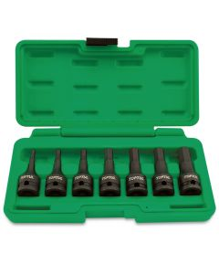 "Toptul Professional Tools 7 Piece 3/8"" Drive Metric 4 - 12mm Hex Bit Impact Socket Set - Blow Case"