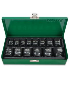 "Toptul Professional Tools 14 Piece 1/2"" Drive SAE 3/8"" to 1-1/4"" Standard Impact Socket Set in a Metal Case"