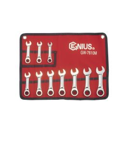 Genius 10 Piece Metric Stubby Ratcheting Wrench Set 10-19mm GW-7610M
