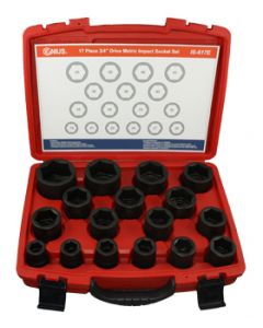 "Genius 17 Piece 3/4""drive Metric 6 Point Standard Impact Socket Set: Part no:IS-617E"