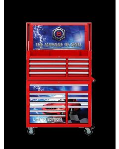 """Britool Hallmark Limited Edition 19 Drawer 42"""" Tool Box Stack in Red with Graphics BHWS19GR"""