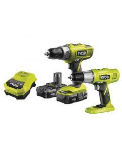 Ryobi ONE+ 18V Twin Pack Combi Hammer Drill & Drill / Driver 18 Volt 2 x 1.3 Ah Li-Ion R18CK2C-LL13