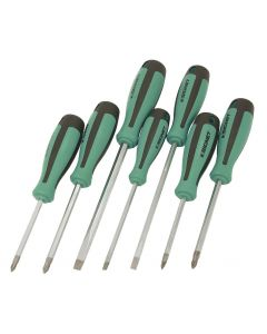 Signet 7 Piece Flat,Phillips & Pozi-Drive Screwdriver Set Green & Black S52474