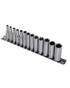 "Britool Hallmark 13 Piece 1/4"" drive Deep Hex 6 Point Metric Socket Set 4-14mm SDHMSET13"