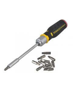 Stanley Fatmax Comfort Grip High Torque Ratchet Screwdriver with 12 High Quality Bits Stored in the Handle STA062690