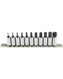 "Trident Tools 11 Piece 1/4""drive Socket Hex Bit Set Metric 1.5 - 11mm 40mm Long T110900"