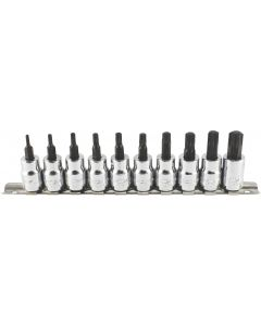 "Trident Tools 10 Piece 3/8""drive Socket Torx Bit Set T10 - T55 50mm Long T120500"