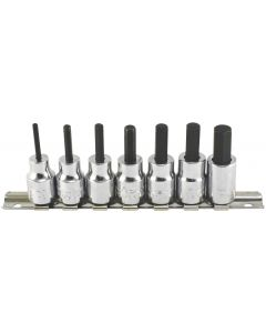 "Trident Tools 7 Piece 3/8"" Drive Socket Hex Bit Set Metric 3 - 10mm 50mm Long T120900"