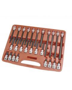 "Trident Tools 26 Piece1/2""dr Spline Socket Bit Set Lengths of 55,100,140,200mm T130750"