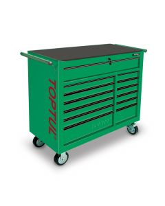 "Toptul Heavy Duty 13 Drawer Mobile Tool Chest Rollcab 42"" Work Station in Green TCBA1301"