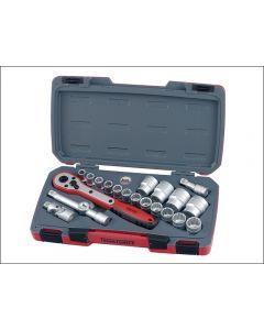 "Teng Tools 21 Piece 1/2""dr Socket Set in a snap lock case T1221"