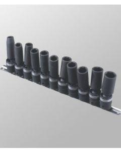 "Genius 11 Piece 1/2""drive Metric Swivel 6 Point Deep Impact Socket Set TG-411MD"