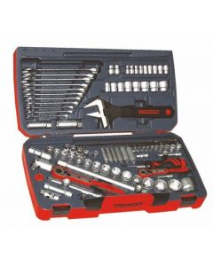 "Teng Tools 127 Piece 1/4"", 3/8"" and 1/2"" Drive Tool Kit with Spanner Set TM127"