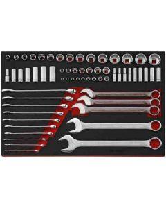 """Teng Tools 62 Piece AF 1/4"""", 3/8"""" & 1/2"""" drive Socket Set & AF Spanner Set EVA Tool Control System TTEAF62"""