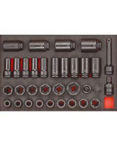 "Teng Tools 33 Piece 3/4"" drive EVA Tool Control System Impact Socket Set TTEISK33"
