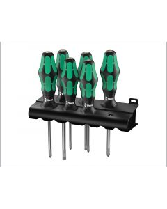 Wera Kraftform Plus 335/350/355/6 Screwdriver Set of 6 2 x SL 2 x PZ 2 x PH WER105622